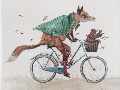Uma ilustração da bicicleta de raposa