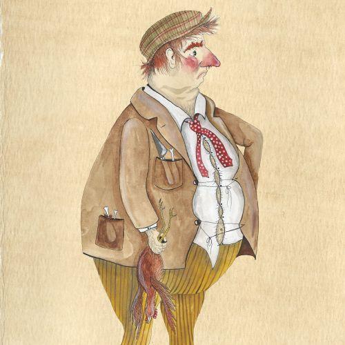 An illustration of a fat man