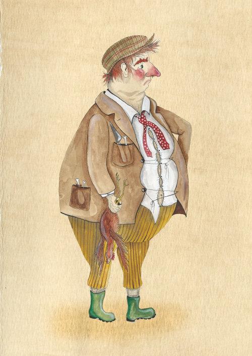 Uma ilustração de um homem gordo