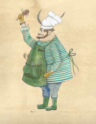 An illustration of a chef
