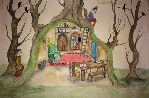 Illustration de livre pour enfants de cabane dans les arbres