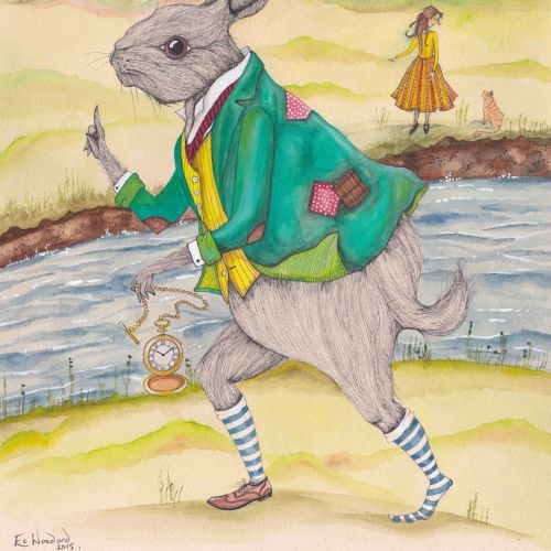 An illustration of rabbit in anthropomorphic scene