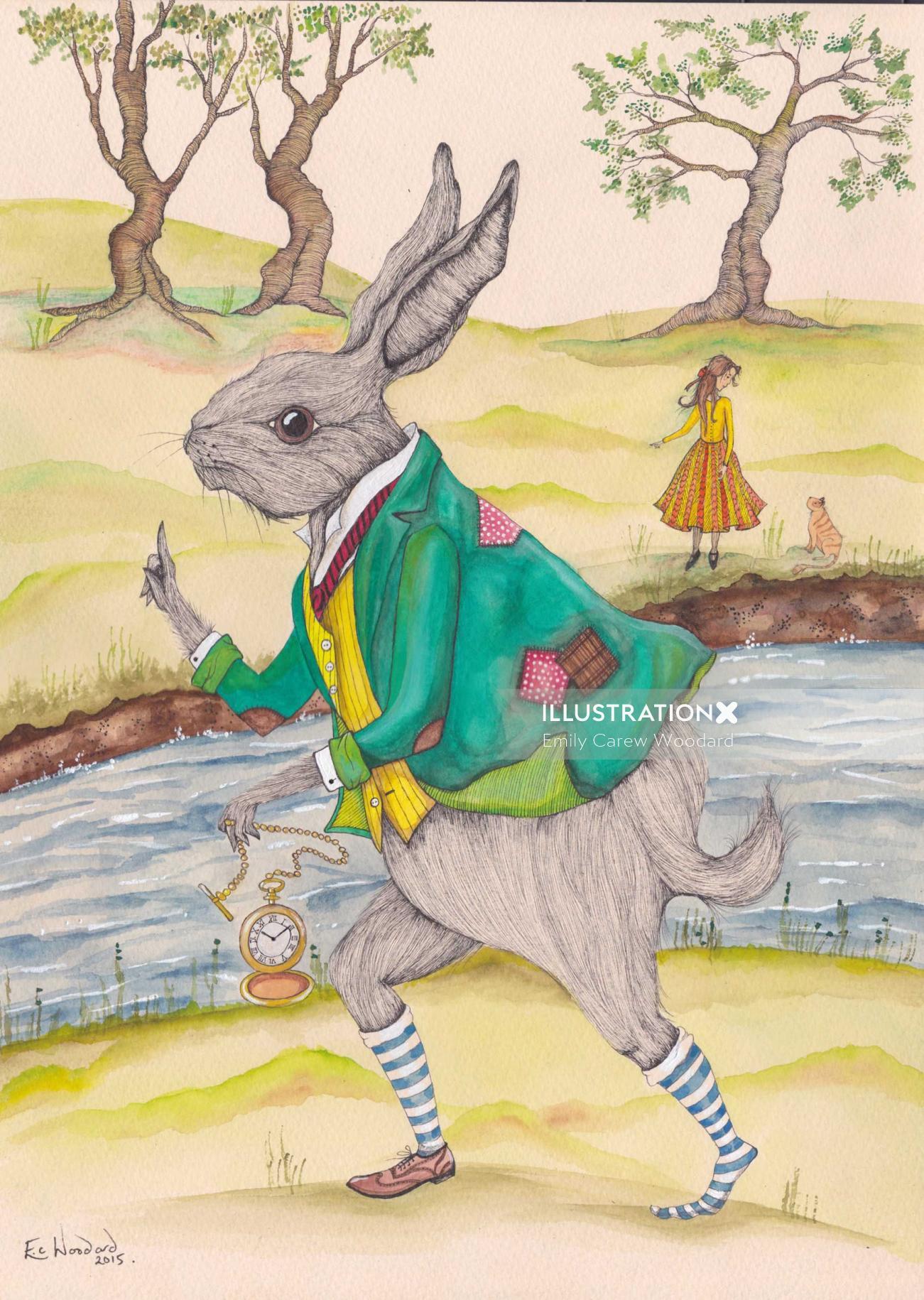An illustration of rabbit in anthropomorphic scene