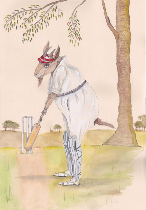 An illustration of goat playing cricket
