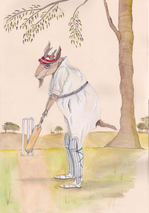 Uma ilustração de cabra jogando críquete