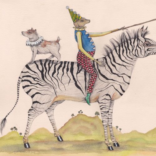 An illustration of Dog and mouse on zebra