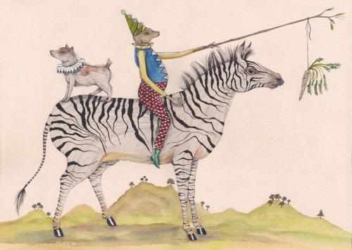 Uma ilustração de cão e rato na zebra