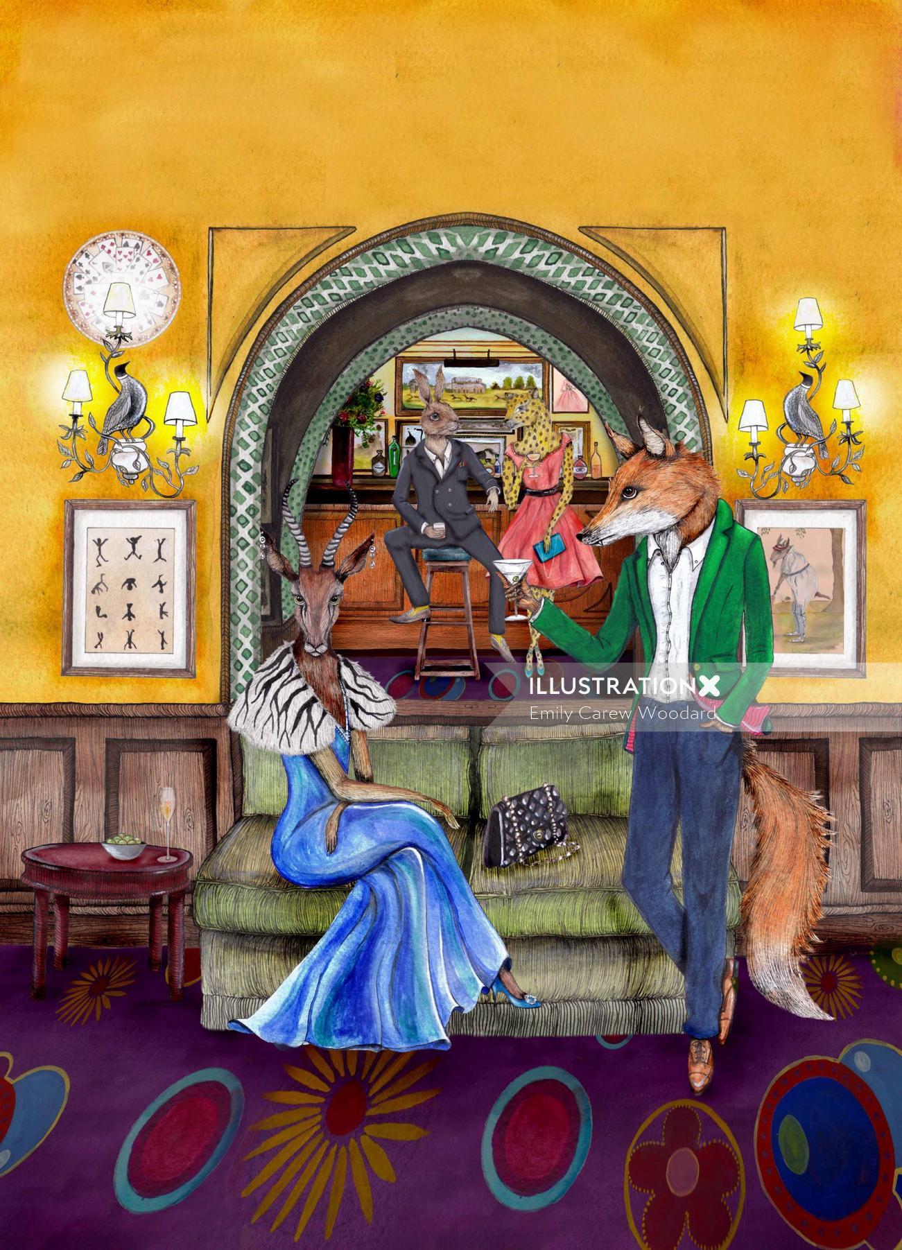 An illustration of zebra and fox in anthropomorphic scene