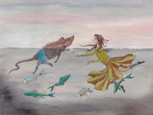 Uma ilustração de menina brincando com rato