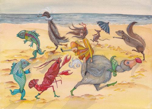 Uma ilustração de animais marinhos brincando na praia