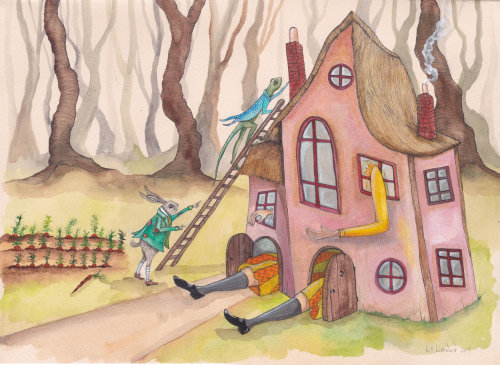 Casa na ilustração da floresta por Emily Carew Woodard