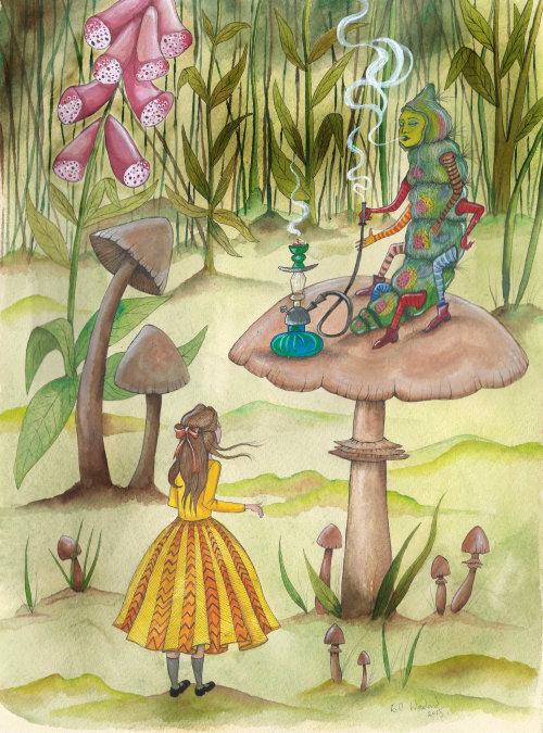Uma ilustração de uma menina e lagarta em caráter humano