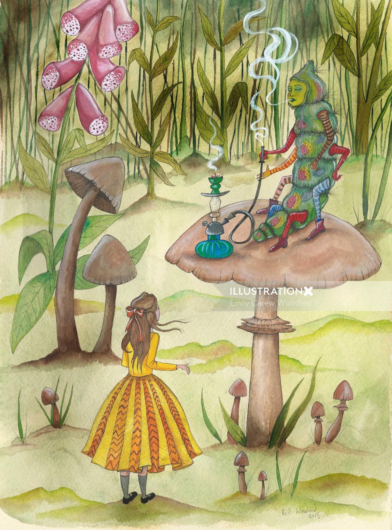 An illustration of a girl and caterpillar in human character