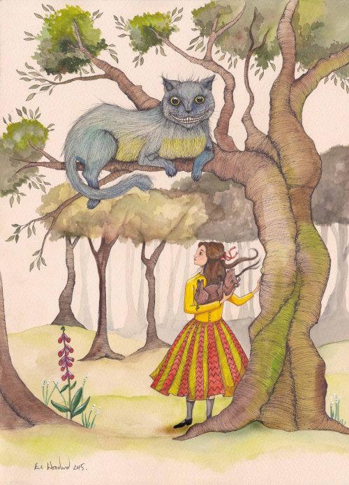 Menina sob a ilustração da árvore por Emily Carew Woodard