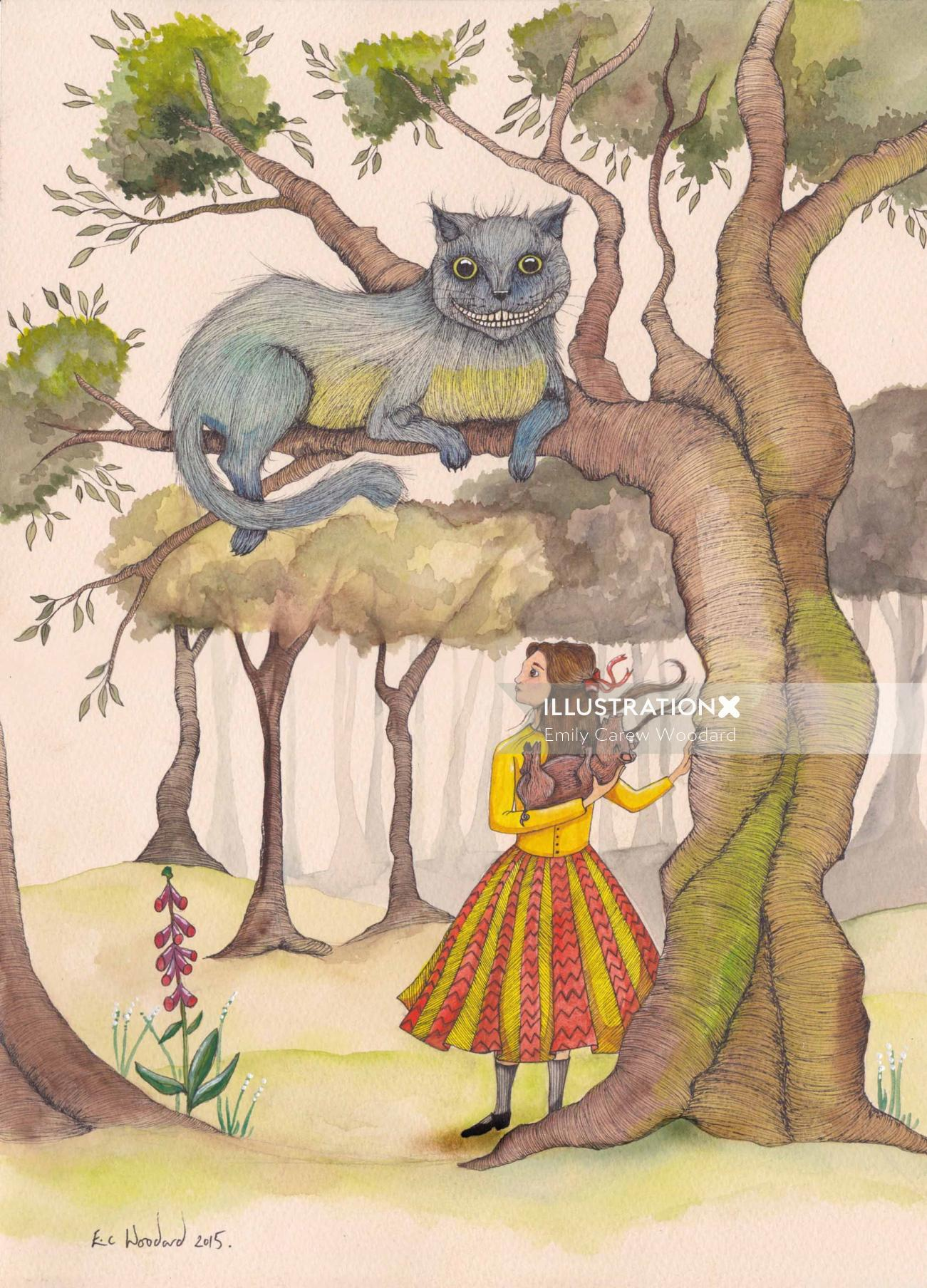 Girl under the tree illustration by Emily Carew Woodard