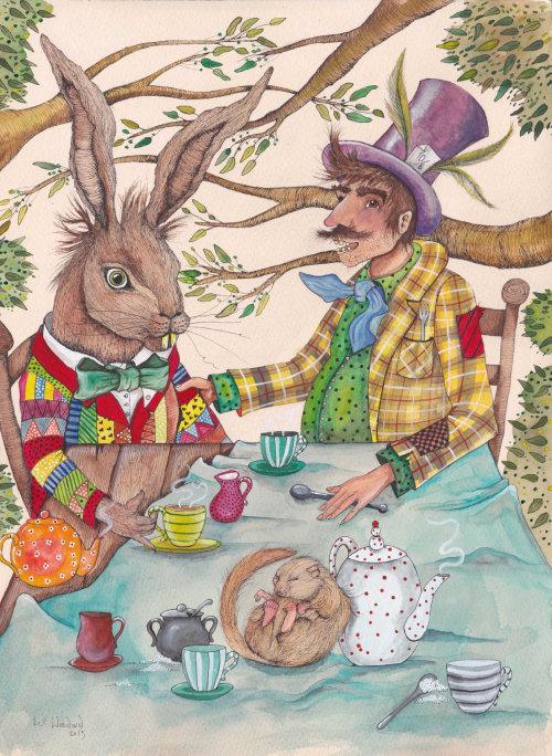 Pintura de homem com coelho em papel humano