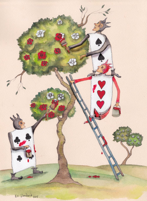 Comic illustration of painting to tree flowers