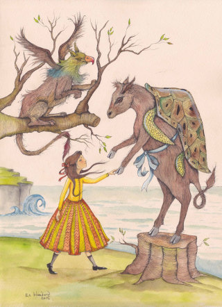 Girl holding strange animals illustration by Emily Carew Woodard