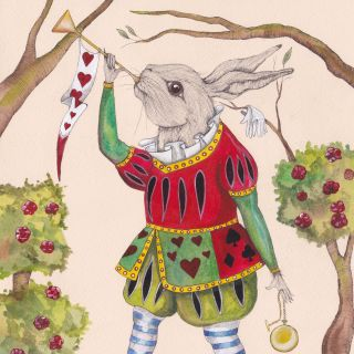 An illustration of rabbit playing music