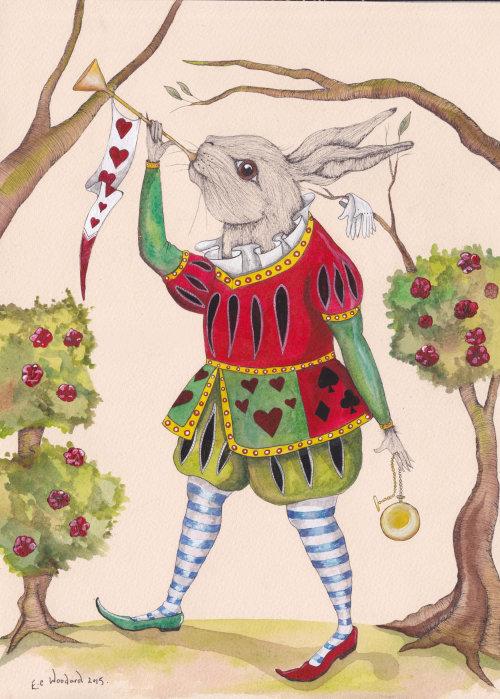 Uma ilustração de coelho tocando música