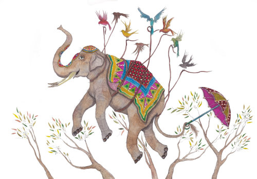 An illustration of flying elephant