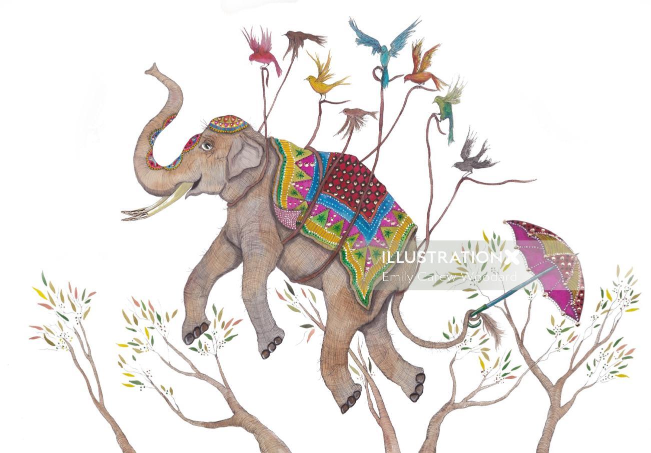 An illustration of flying elephant