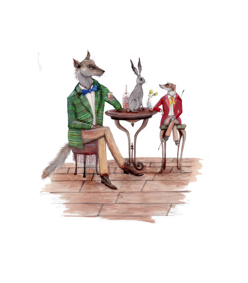 An illustration of fox, rabbit and dog in anthropomorphic scene