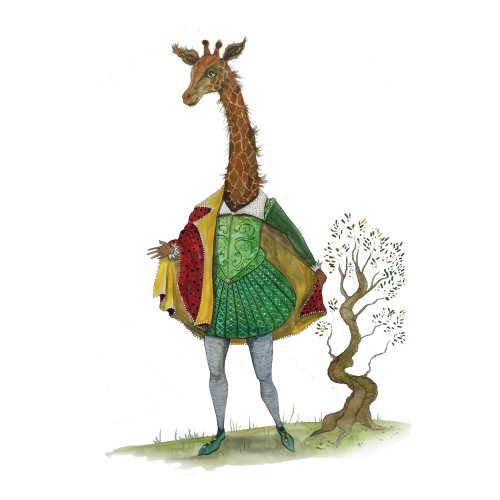 An illustration of giraffe in anthropomorphic scene