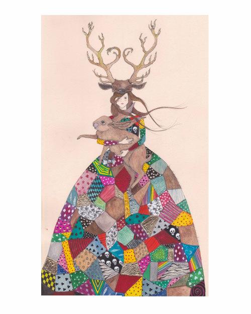 Uma ilustração de menina com chifres segurando coelho