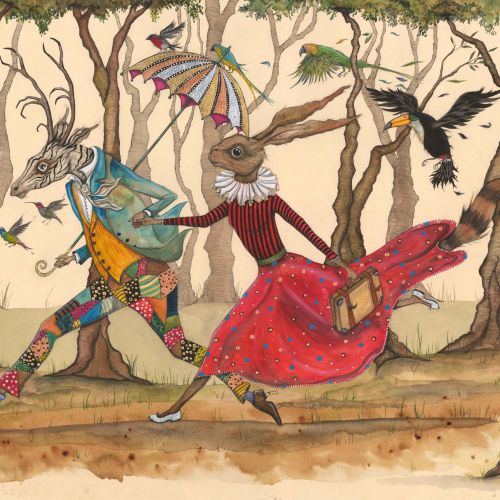 An illustration of Reindeer and rabbit in anthropomorphic scenes