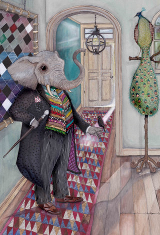 An illustration of elephant in anthropomorphic scene