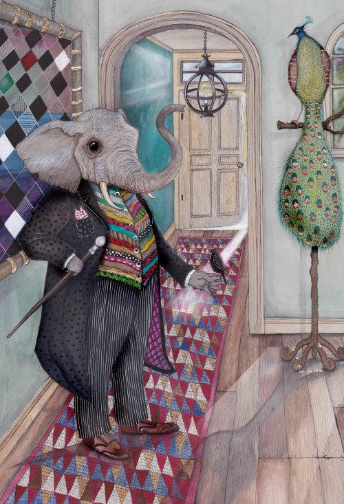 An illustration of elephant in anthropomorphic scene