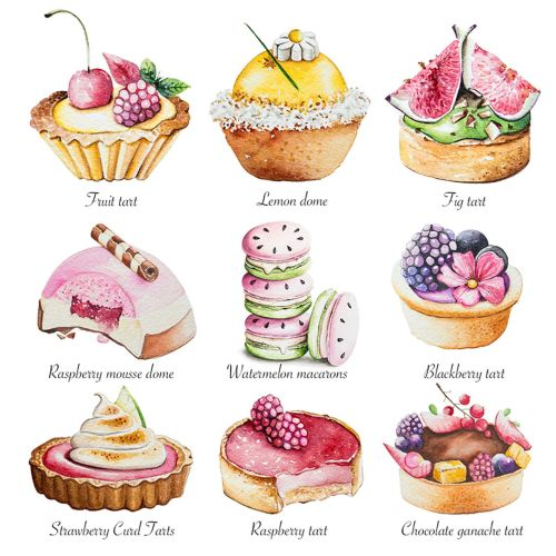 Collection of patisserie artwork