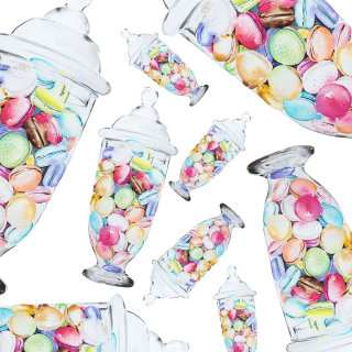 The macarons jar acrylic painting
