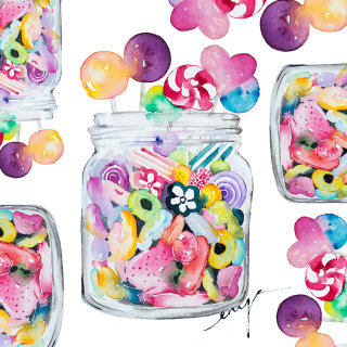 Watercolour of Candy jar