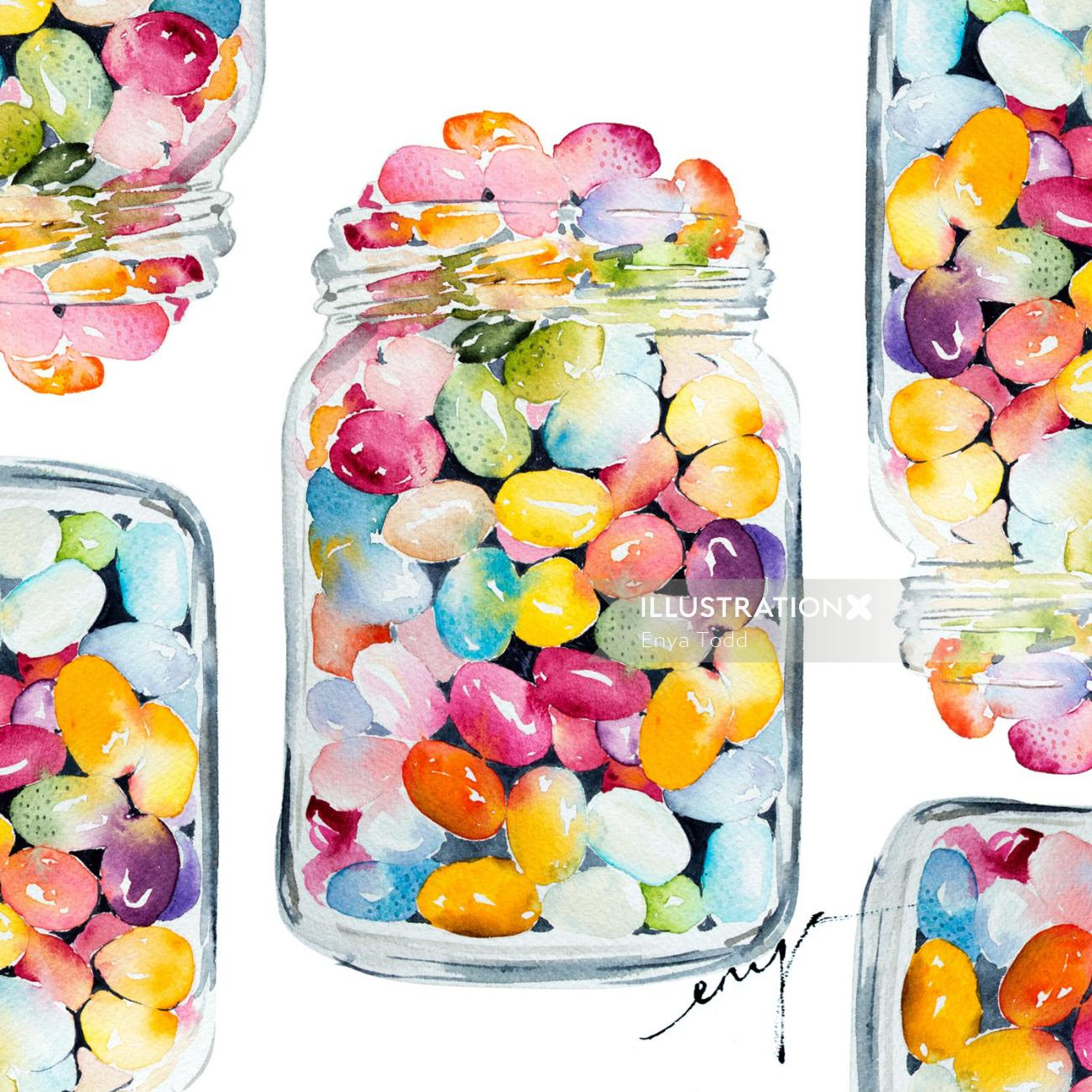 Painting of the jelly belly jar