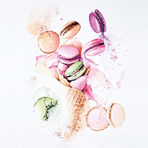 Watercolour artwork of macaron ice cream