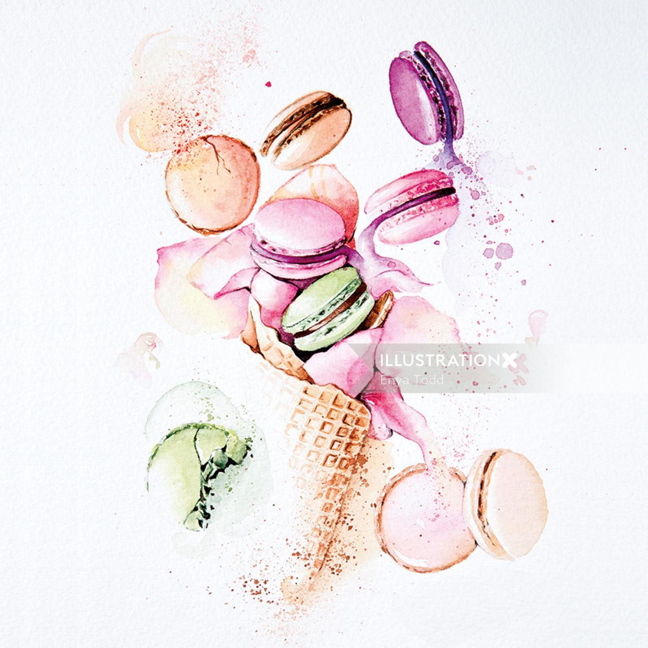 Watercolour artwork of macaron ice cream