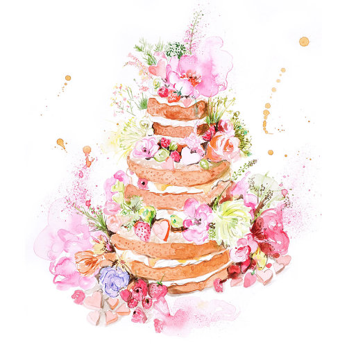The english garden wedding cake Watercolour