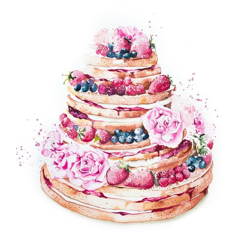 Rosy berries wedding naked cake