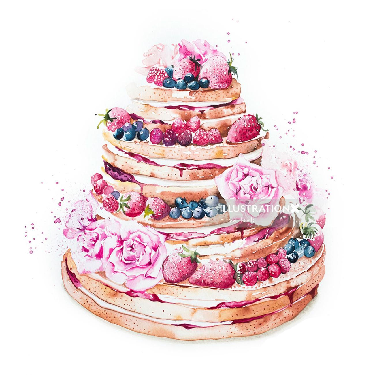 Rosy berries wedding naked cake