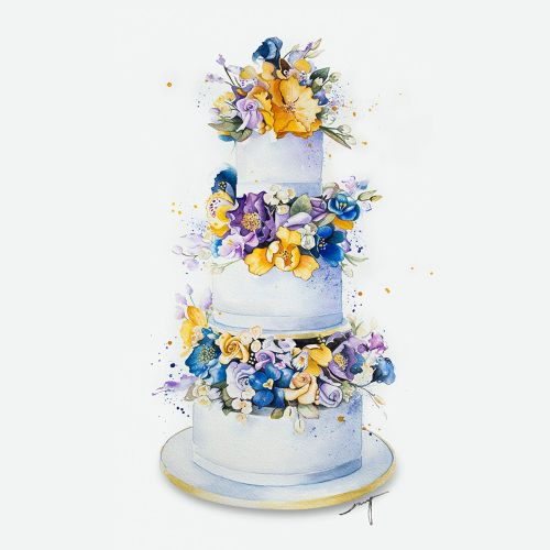 3 tier wedding cake with hand painted