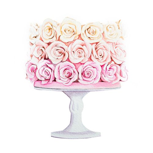 Rose cake design for greeting card