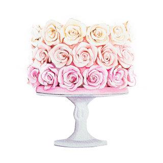 Rose cake design for greeting card