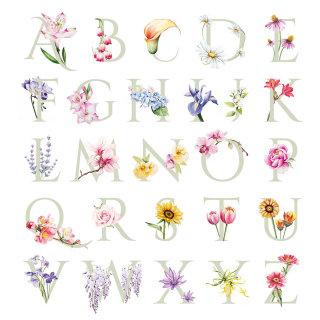 Lettering illustration of flower alphabets