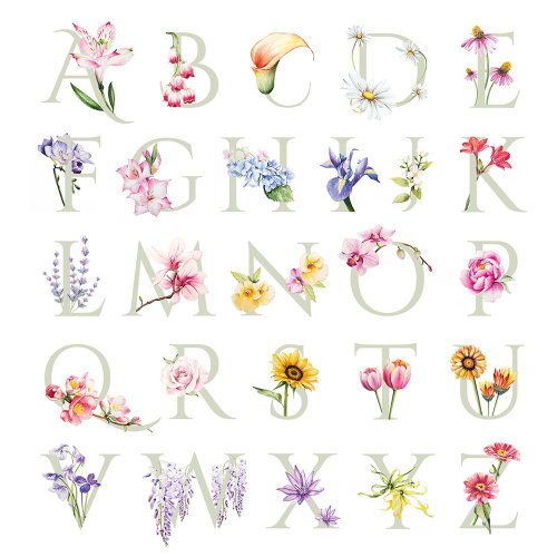 Lettering illustration of flower alphabets