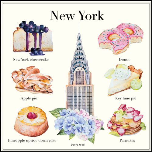 Watercolour painting of desserts in NY