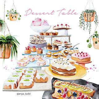 Dessert table painting by Enya Todd illustrator