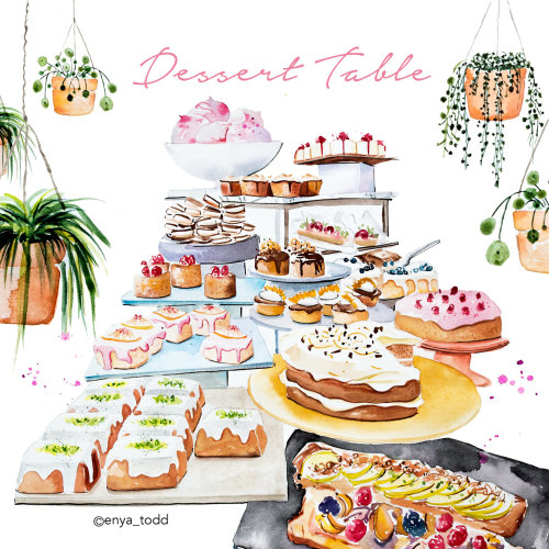 Dessert table painting by Enya Todd illustrator