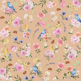 Flower birds pattern design